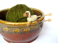 Sammy the sheep yarn bowl / holder IN STOCK by ClaymatesPottery, $50.00
