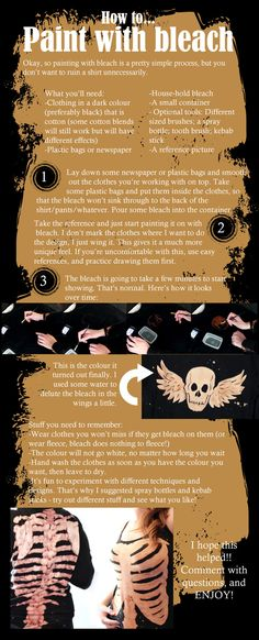 Bleach Painting Clothes TUTORIAL by ~KiLin7HATS on deviantART