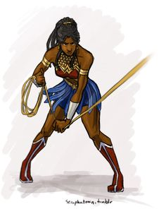 """seraphatonin: """" weeps softly bc i have a problem with falling in love with other people's designs edit: this is the little girl in the Wonder Woman movie who was later inspired to become Wonder. Wonder Woman Kunst, Wonder Woman Art, Wonder Women, Black Love Art, Black Girl Art, Black Girl Magic, Comics Anime, Dc Comics Art, Black Comics"""