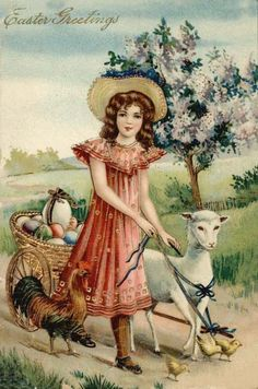 "Antique Easter postcard....""Easter Greetings """