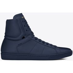 Saint Laurent Signature Court Classic Sl/01h High Top Sneaker In ($665) found on Polyvore featuring men's fashion, men's shoes, men's sneakers, mens high top shoes, yves saint laurent mens shoes and mens high top sneakers