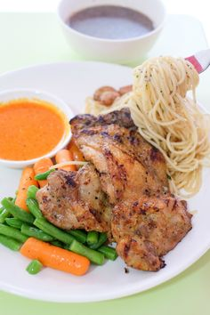 The Pasta Grilled Spicy Chicken Chop Combo @ Ci Yuan Hawker Centre