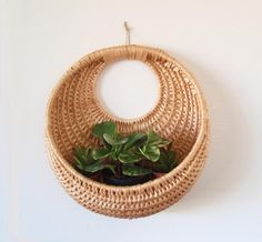 Large Boho Woven Wicker Wall Basket/ Round by DragonflyGypsySoul