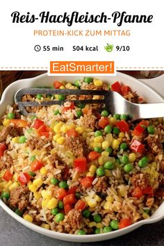 Rice and mince pan - Rice minced meat pan – smarter – calories: 504 kcal – time: 45 min. Healthy Eating Tips, Healthy Nutrition, Healthy Snacks, Healthy Recipes, Healthy Soup, Rice Recipes, Meat Recipes, Snack Recipes, Law Carb