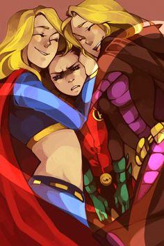 Kara Kent (Supergirl), Stephanie Brown (Batgirl) & Damian Wayne (Robin)  sand- whiched!!! ;p