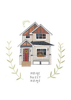 Custom illustrated house by Rebekkaseale on Etsy