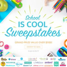 """WIN a prize package over $1100 in the """"School is Cool!"""" Sweepstakes! from @ISeeMeBooks! Closes 8-20-2017"""