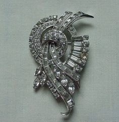 BEAUTIFUL FANCY VINTAGE ART DECO RHINESTONE PIN & PENDANT BAGUETTES PEAR SHAPES  #Unbranded