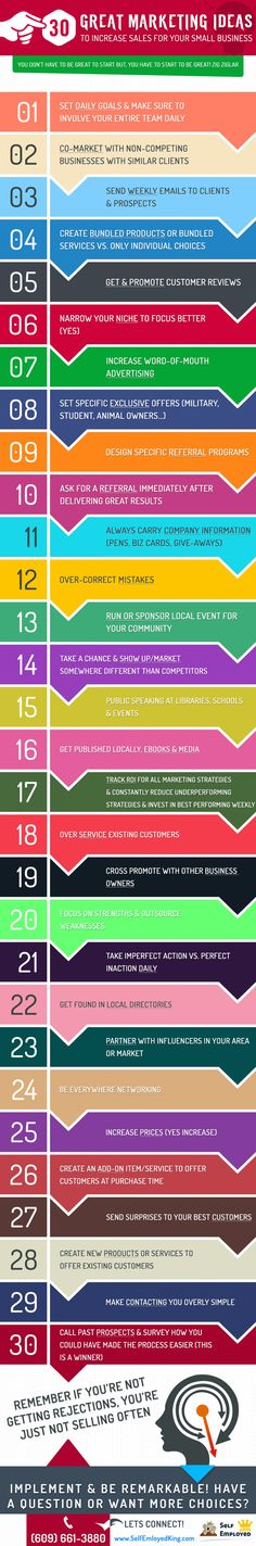 30 Great Marketing Ideas for Small Business Owners #Infographic