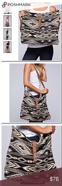 """Tapestry Crossbody Bag in Black Taupe TAPESTRY CROSS BODY BAG BLACK/TAUPE DESCRIPTION Tribal print cross body bag with leather closure and contrast canvas strap.Size 19"""" W x 15 1/2 H - one inside pocket FABRIC 60% COTTON, 40% POLYESTER Bags Crossbody Bags"""