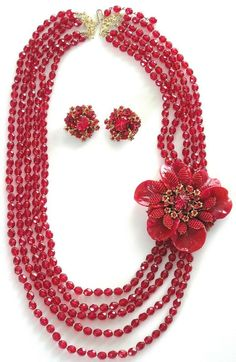 STANLEY HAGLER MASSIVE Ravishing Red Crystal Molded Glass Necklace Earring Set