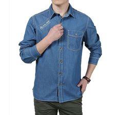 Men Jeans Shirt, Big Size Shirts, Plus Size Casual Shirt, Blue