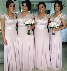 Cap Straps Chiffon Floor-length with Lace Best V-neck Bridesmaid Dress
