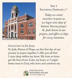 Winter 2019 Solemn Novena prayer for devotees of the National Shrine of St. Jude in Chicago. Novena Prayers, Prayers For Strength, Catholic, Taj Mahal, This Is Us, Journey, Faith, Day, 5 Years