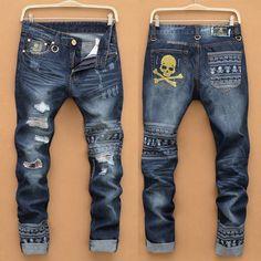 Herren Skull Straight Slim Fit Hole Trousers Casual Denim Jeans Pants Hosen