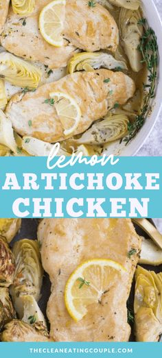 Healthy Lemon Artichoke Chicken - The Clean Eating Couple Healthy Chicken Recipes, Turkey Recipes, Paleo Recipes, Real Food Recipes, Chicken Dips, Baking Recipes, Yummy Food, Clean Eating Recipes, Lunch Recipes