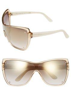Women's Tom Ford 'Ekaterina' Shield Sunglasses - Champagne/ Ivory / Brown