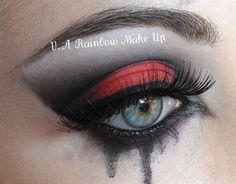 red, black makeup, tears
