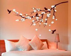Wall Art Sticker Decal Mural for Nursery, Bedroom CHERRY BLOSSOM BRANCH & BIRDS | eBay
