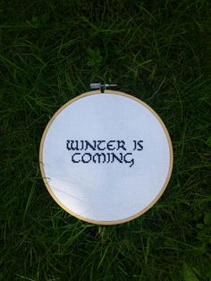 Winter is coming. Game of thrones quote completely cross stitched