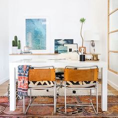Now this is some beautiful office #inspo!We were lucky enough to meet the genius designer behind this pretty space @amberinteriors at the @lasvegasmarket this week! #style #design #officedecor #officestyle #love #cactus #pompomathome #sopompom (pic by the talented @tessaneustadt)