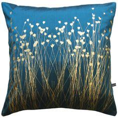 Clarissa Hulse - Grassflowers peacock/old gold silk cushion <3