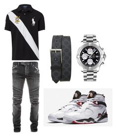 Untitled A menswear look from August 2017 by aintdatjulian featuring Ralph Lauren, Balmain, Breitling, Gucci, men's fashion and menswear Dope Outfits For Guys, Swag Outfits Men, Stylish Mens Outfits, Best Mens Fashion, Men's Fashion, Winter Fashion, Polo Outfit, Casual Fashion Trends, Teen Boy Fashion