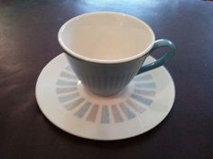 Mid Century Modern China Blue Gray White Unmarked Coffee Cup & Saucer Set