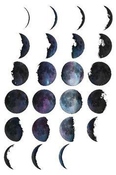 Watercolor moon tattoos