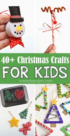 These easy Christmas crafts for kids are SO MUCH FUN! There's tons of ideas for ornaments, angels, Christmas trees, Christmas cards, snowflakes and more! These simple ideas are awesome for kids, adults, teens and seniors!