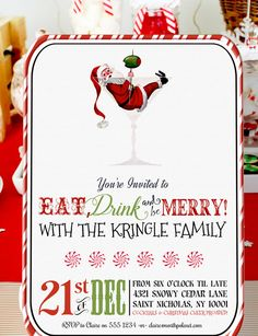 Eat drink be merry christmas cocktail party announcement visit merry christmas its a fun retro santa christmas cocktail party invitation that you can personalise solutioingenieria Image collections