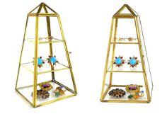 Obelisk Cabinet Glass Brass Display Case Geometric Polyhedron