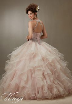 Quinceanera Dress 89074 Ruffled Organza Skirt with Pearl Beaded Bodice