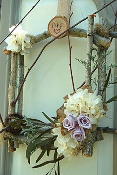 Square Birch Wreath  Preserved flowers  by myhydrangeahome on Etsy, $60.00
