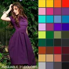 """Midi dress. Elegant evening knee length dress with pleated skirt part. Yellow, red, orange, blue, green, brown, black, violet, purple, mint green, grey. ➤ Features > dress length: 43.3"""" / 110 cm > pleated skirt part > short sleeves > rounded neckline > knee length ➤ Sizing My Size Guide in"""