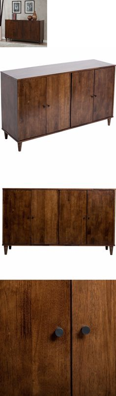 Sideboards And Buffets 183322 Rustic Mid Century Wood 4 Door Storage Sideboard Buffet Cabinet