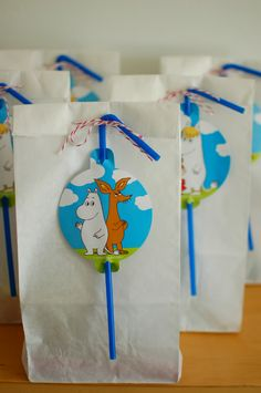 muumi synttärit lucylle - moomin birthday for lucy ♥ 1st Birthday Parties, Happy Birthday, Birthday Ideas, Loot Bags, Summer Boy, Party Bags, Pinwheels, First Birthdays, Crafts For Kids
