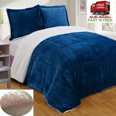 3 Pcs Comforter Set Queen Navy Bed Reversible Plush Sherpa Soft Warm Winter Gift #ChezmoiCollection
