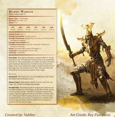 [Homebrew] Mummy Warrior : dndnext