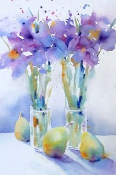 Iris & pears in watercolor by yvonne joyner watercolor pictures, floral watercolor, flower art Watercolor Pictures, Watercolor Artists, Watercolor Landscape, Watercolor And Ink, Watercolour Painting, Watercolor Flowers, Watercolors, Watercolor Video, Abstract Flowers