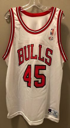 7f289f0894c Vintage MICHAEL JORDAN  45 Chicago Bulls White Champion Jersey Size 48 XL   Champion  ChicagoBulls