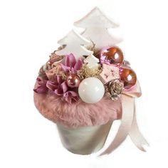 Karácsonyi asztaldísz (rózsaszín-fehér) - Szárazvirág díszek webáruháza