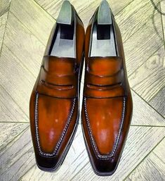 Leather Loafers Shoes Slip-On Dress Shoes Mens Leather Loafers, Leather Slip Ons, Loafers Men, Brown Loafers, Penny Loafers, Gentleman Shoes, Slip On Dress Shoes, Handmade Leather Shoes, Best Shoes For Men
