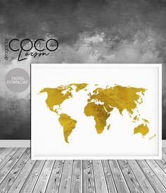 gold foil print gold world print world map print map of the
