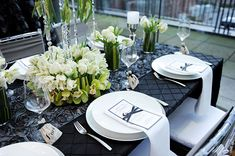 A modern take on the traditional green St. Patrick's Day color scheme.  Uses layers and textures in black with crisp green and white accent colors.  Entertaining inspiration idea.
