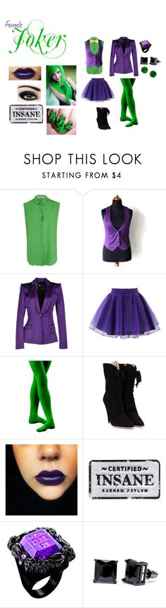 """Female Joker"" by artistic-muse ❤ liked on Polyvore featuring Acne Studios, Just Cavalli, Chicwish, Miu Miu, Anna Sui, Simon Frank and Kate Spade"