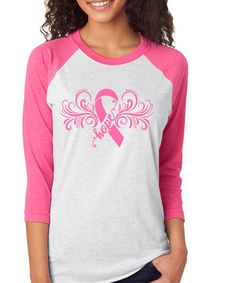 Breast Cancer Hope Ribbon  Raglan Shirt