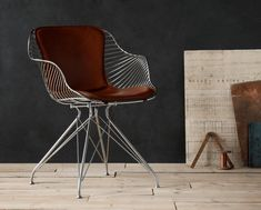 Overgaard & Dyrman - Wire Dining Chair in burned steel finish and British racing red leather - www. Luxury Furniture, Home Furniture, Modern Furniture, Furniture Design, Antique Furniture, Luxury Chairs, Furniture Logo, Furniture Ideas, Canapé Design