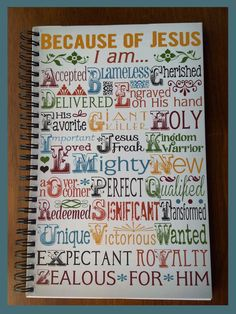 """Do you journal your prayers and thoughts? Do you like journals with covers that reflect something about you? The popular """"Because of Jesus"""" printable is now available on a journal cover! It's spiral bound with 80 lined pages. Great for you or as a gift!"""
