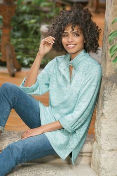9141276cb7aa his great casual tunic is the new go-to top. Mock-stand collar with five  mother-of-pearl buttons add a coastal vibe to this long sleeve pullover.